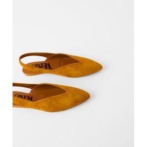 Zara Split Leather Slingback Flat (size 6.5)